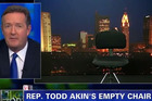 When Todd Akin backed out of his interview with CNN host Piers Morgan, the host pulled the 'empty chair' on air instead. Photo / YouTube