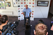 Departing Warriors coach Brian McClennan talks to the media . Photo / Getty Images
