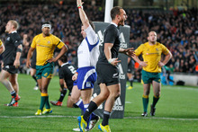 Israel Dagg celebrates scoring the only try of the match. Photo / Richard Robinson