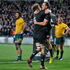 Israel Dagg celebrates with Sam Whitelock after scoring. Photo / Richard Robinson
