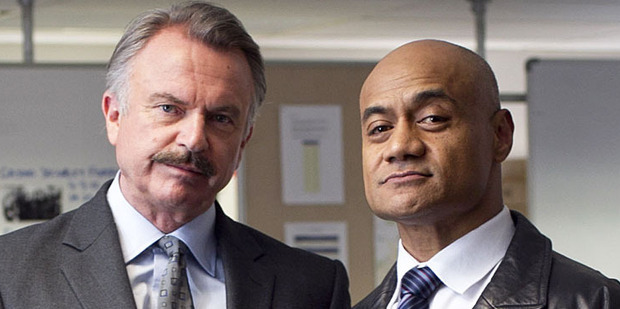 Sam Neill and Oscar Kightley in new police drama Harry. Photo / Natalie Slade