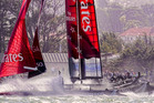 Emirates Team New Zealand in action at the America's Cup World Series San Francisco regatta. Photo / Team NZ