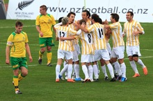 Central United celebrate one of the six goals in the Chatham Cup final against Lower Hutt City at Newtown Park. Photo / Getty Images