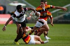 David Raikunal of North Harbour off loads during the ITM Cup Rd 1 game between North Harbour and Waikato. Photo / Getty