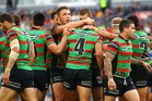 The Rabbitohs celebebrate a try during the round 25 NRL match between the South Sydney Rabbitohs and the Parramatta Eels. Photo / Getty Images
