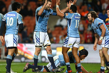 Northland players celebrate the win over Waikato during the round three ITM Cup match between Waikato and Northland. Photo / Getty Images.