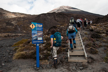 Hikers head up a hill on the Tongariro Alpine Crossing. Photo / Supplied