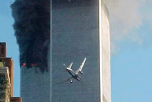 An aircraft heads toward the second tower of the World Trade Center in New York. Photo / File