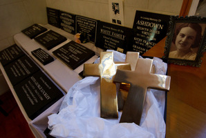 Crosses were forged from the brass of the vandalised plaques at Waikumete Cemetery in West Auckland.  Photo / Sarah Ivey
