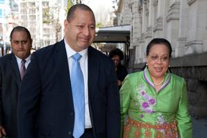 King Tupou VI with wife Nanasipau'u Tuku'aho. Photo / Greg Bowker