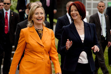 Hillary Clinton (left) and Julia Gillard will be aiming to help the cause of their female counterparts. Photo / AP