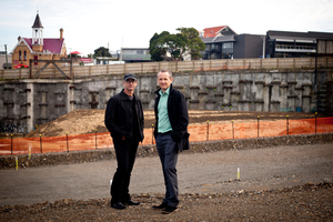 Designer David Irwin (left) and Brady Nixon of Progressive Enterprises at the site of Vinegar Lane in Ponsonby. Photo / Dean Purcell