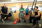 Peni Tavalu gives his all in Foodstuffs' gym. Photo / Michael Craig