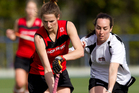 Canterbury's Pippa Hayward (left) and North Harbour's Jemma Overmire fight for possession at Lloyd Elsmore Park in Pakuranga yesterday. Photo / Sarah Ivey