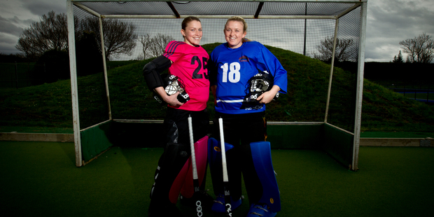 Carolyn Lancaster and Nicky Howes play as goalkeepers. Photo / Dean Purcell