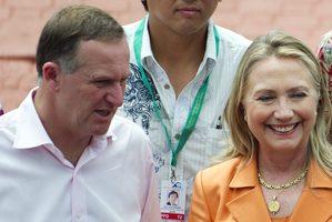 John Key speaks with Hillary Clinton in Rarotonga.  Photo / AP