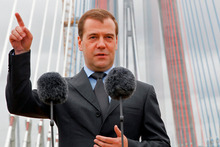 Russian Prime Minister Dmitry Medvedev at the opening of the Russky Island Bridge on July 2. Photo / AP