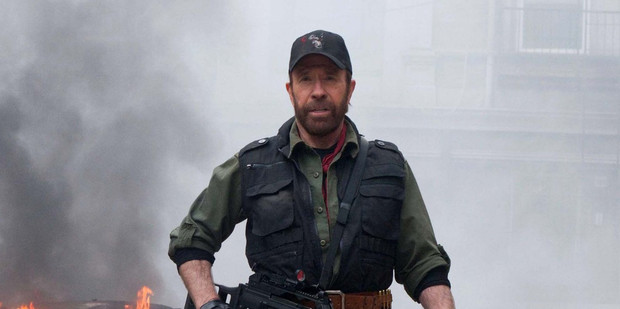Chuck Norris in a scene from Expendables 2. Photo / Supplied