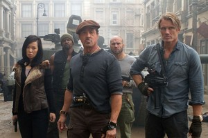 Yu Nan, Terry Crews, Sylvester Stallone, Randy Couture and Dolph Lundgren in a scene from Expendables 2. Photo / Supplied