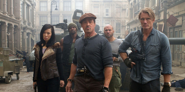 Yu Nan, Terry Crews, Sylvester Stallone, Randy Couture and Dolph Lundgren in a scene from 'The Expendables 2'. Photo /Supplied
