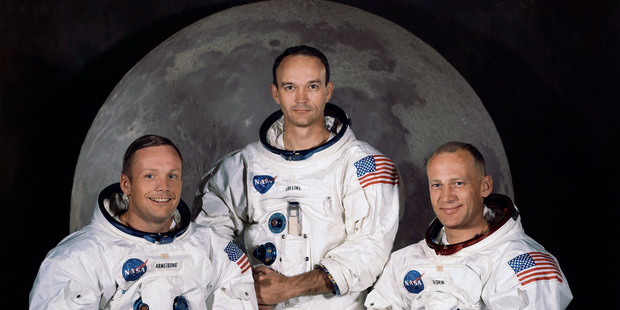 In this 1969 photo (from left) are Neil Armstrong, Michael Collins and Buzz Aldrin. Photo / AP