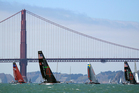 With the Golden Gate Bridge as a backdrop, from left to right, Emirates Team New Zealand, Oracle Team USA Spithill, Artemis Racing White, of Sweden, and Oracle Team USA Coutts. Photo / AP