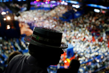 North Carolina delegate Steve Malay dons his hat at the Republican National Convention.  Photo / AP