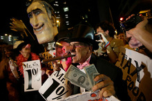 Protesters voiced their concerns outside the Republican Party convention. Photo / AP