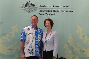 John Key and Julia Gillard at the Pacific Islands Forum in Rarotonga. Photo / NZ Herald