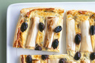 Leek and olive tart. Photo / Supplied