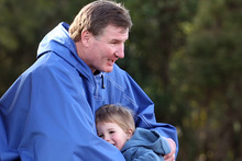 Event founder Ian Winson with his son Ethan. This year his son Josh, 8, will be tackling the 5km course. Photo / Janna Dixon