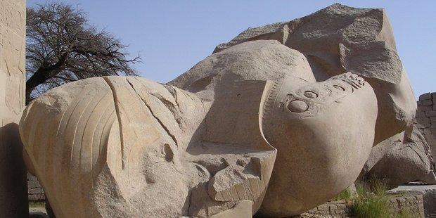 The Oxymandia Colossus, the fallen statue of Ramses II at the Ramesseum. Photo / Peter Calder