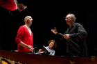 Baritone lead singer James Harrison, composer Eve de Castro-Robinson and conductor Uwe Grodd. Photo / Sarah Ivey