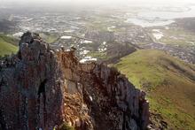 Rockslides on the Port Hills cliff. Photo / NZ Herald