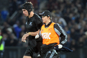 Anthony Boric leaves the field injured in the rugby test against Wales in Dunedin, in June 2010. Photo / NZPA
