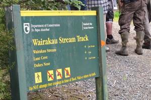 Jurors in the murder trial of Wayne Bracken and Neville Joseph Dangen examined the scene at the Wairakau Stream Track. Photo / Peter De Graaf
