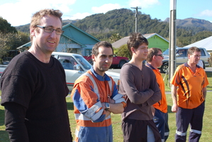 Spring Creek coalminers mull an uncertain future after an hour-long meeting with Solid Energy management this afternoon. Photo / Greymouth Star