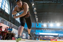 Valerie Adams of New Zealand competes during the women's shot put final staged at th