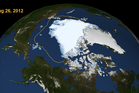 The extent of Arctic sea ice on Aug. 26, 2012, the day the sea ice dipped to its smallest extent ever recorded in more than three decades of satellite measurements. Photo / NASA