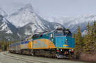 The Canadian is pictured heading west, near Jasper, Alberta. Photo / Creative Commons image by Wikimedia user Timothy Stevens