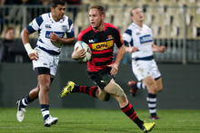Andy Ellis of Canterbury runs in to score a try during match against Auckland. Photo / Getty Images 