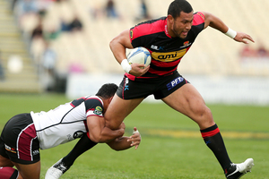 Robbie Fruean of Canterbury is tackled by Francis Saili of North Harbour during the round three ITM Cup match between Canterbury and North Harbour. Photo / Getty Images.