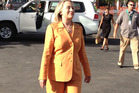 Hillary Clinton lands in Rarotonga.  Photo / Claire Trevett