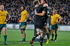 Israel Dagg and Sam Whitelock celebrate after the All Black fullback scored the only try of the second Bledisloe Cup test. Photo / Richard Robinson