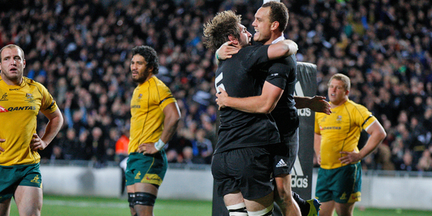 Loading Israel Dagg and Sam Whitelock celebrate after the All Black fullback scored the only try of the second Bledisloe Cup test. Photo / Richard Robinson