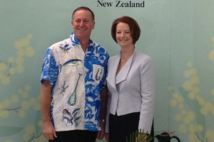 John Key with Julia Gillard at the Pacific Islands Forum. Photo / Claire Trevett