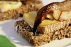 Blue cheese with roasted pear and walnuts on rye bread. Photo / Michael Craig