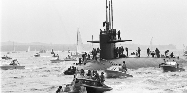 American Navy Nuclear Submarine USS Haddo arriving in Auckland on 19 January 1979. File Photo / NZ Herald