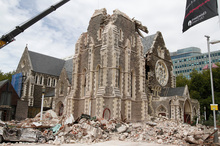 The Christchurch Cathedral after being badly damaged in February's quake. Photo / Mark Mitchell