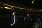 A weather-related power outage plunged the lower North Island into darkness last night and brought the All Blacks test match to a halt. Photo / Getty Images.